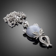 Load image into Gallery viewer, Gray Cat Crystal Necklace KPN0103 - KHAISTA Fashion Jewellery
