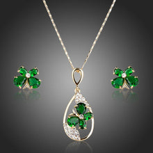 Load image into Gallery viewer, Green Butterfly Stud Jewelry Set - KHAISTA Fashion Jewellery