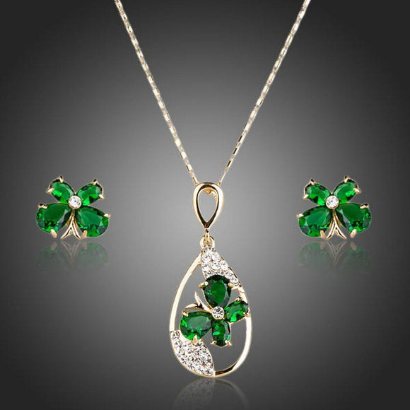 Green Butterfly Stud Jewelry Set - KHAISTA Fashion Jewellery