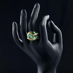 Green Crown Oil Paint Ring - KHAISTA Fashion Jewellery
