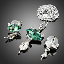 Load image into Gallery viewer, Green Crystal Fox Pendant Jewelry Set - KHAISTA Fashion Jewellery