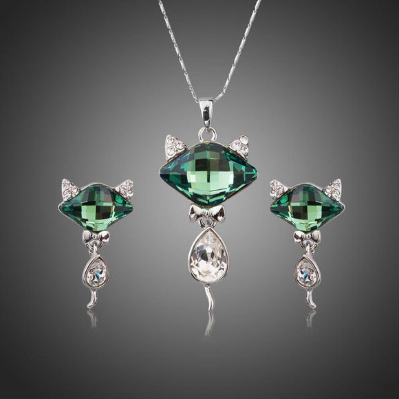 Green Crystal Fox Pendant Jewelry Set - KHAISTA Fashion Jewellery