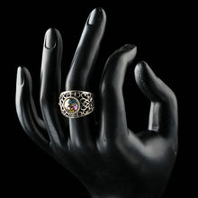 Load image into Gallery viewer, Green Crystals Jewelry Flower Shape Antique Silver Ring - KHAISTA Fashion Jewellery