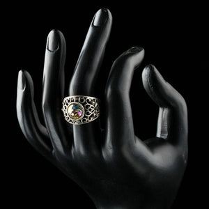 Green Crystals Jewelry Flower Shape Antique Silver Ring - KHAISTA Fashion Jewellery