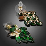 Green Cubic Zirconia Butterfly Drop Earrings -KPE0122 - KHAISTA Fashion Jewellery