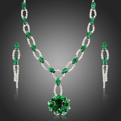 Green Cubic Zirconia Flower Necklace + Drop Earrings Set - KHAISTA Fashion Jewellery