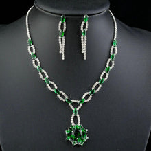 Load image into Gallery viewer, Green Cubic Zirconia Flower Necklace + Drop Earrings Set - KHAISTA Fashion Jewellery