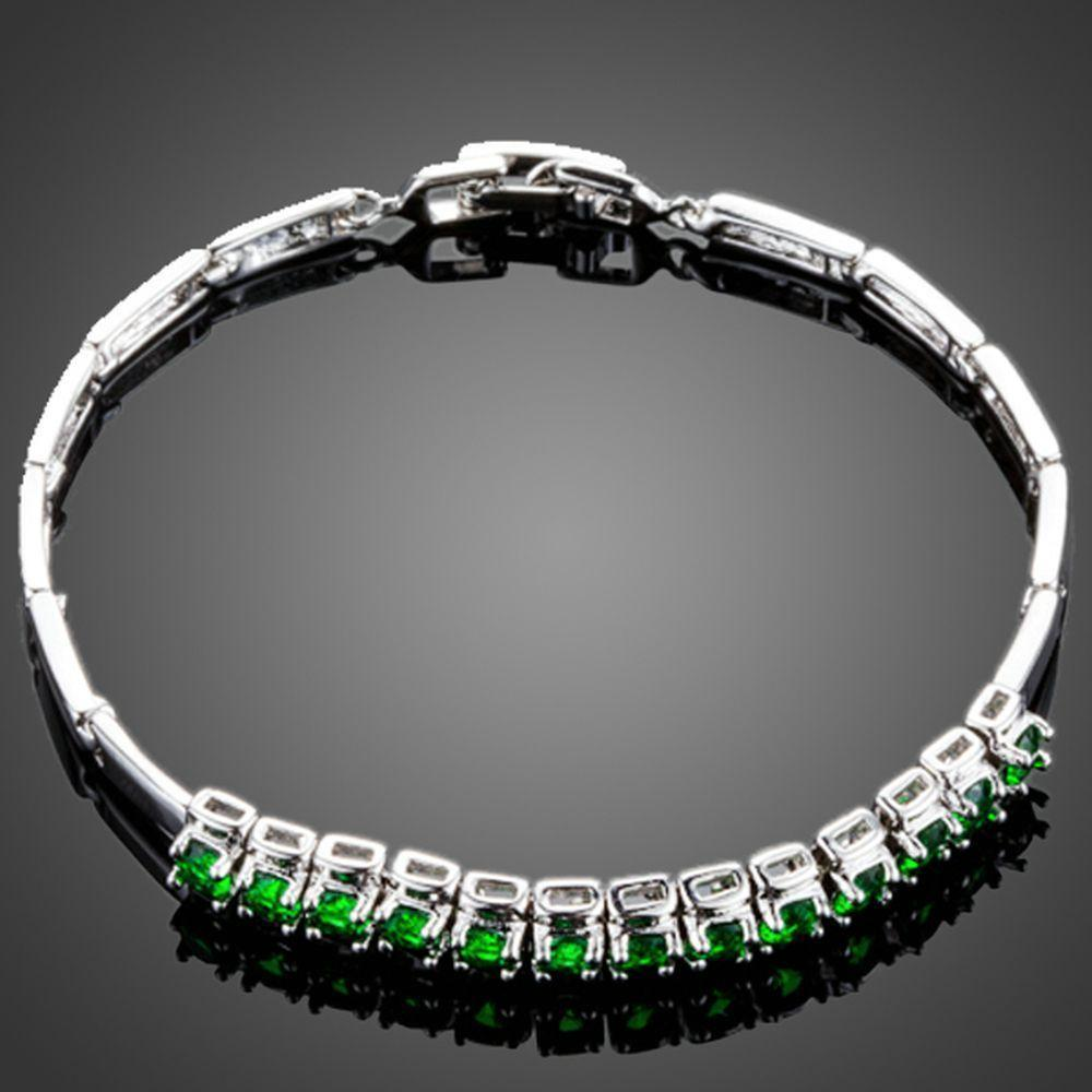 Green Cubic Zirconia Link Chain Bracelet - KHAISTA Fashion Jewellery