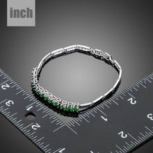 Load image into Gallery viewer, Green Cubic Zirconia Link Chain Bracelet - KHAISTA Fashion Jewellery