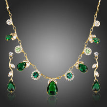 Load image into Gallery viewer, Green Cubic Zirconia Necklace + Earrings Sets -KJG0147 - KHAISTA