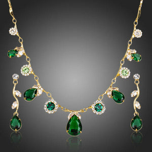 Green Cubic Zirconia Necklace + Earrings Sets -KJG0147 - KHAISTA