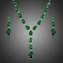 Load image into Gallery viewer, Green Cubic Zirconia Tear Drop Pendant Necklace and Earrings Set - KHAISTA Fashion Jewellery