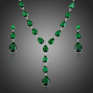 Green Cubic Zirconia Tear Drop Pendant Necklace and Earrings Set - KHAISTA Fashion Jewellery
