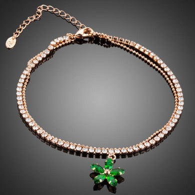 Green Flower Charm Bracelet - KHAISTA Fashion Jewellery