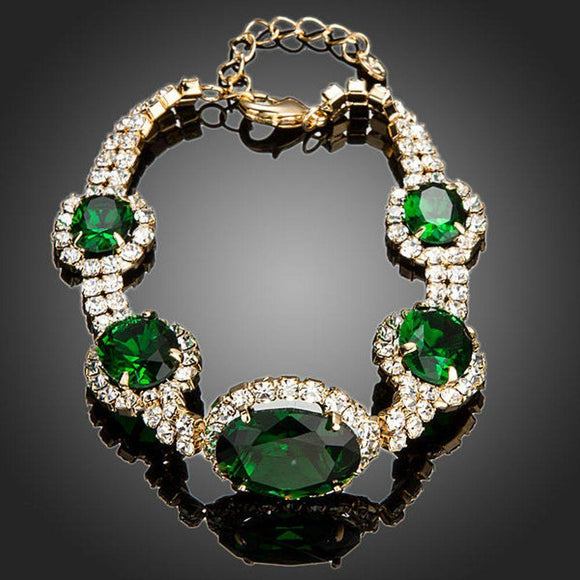 Green Geometrical Oval Cut Bracelet - KHAISTA Fashion Jewellery