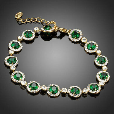 Green Glam Cubic Zirconia Bracelet - KHAISTA Fashion Jewellery