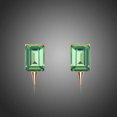 Green Rectangle Crystal Stud Earrings - KHAISTA Fashion Jewellery