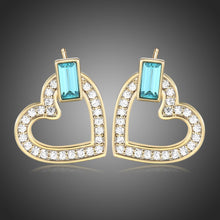 Load image into Gallery viewer, Heart Blue Austrian Crystals Stud Earrings -KPE0385 - KHAISTA Fashion Jewellery