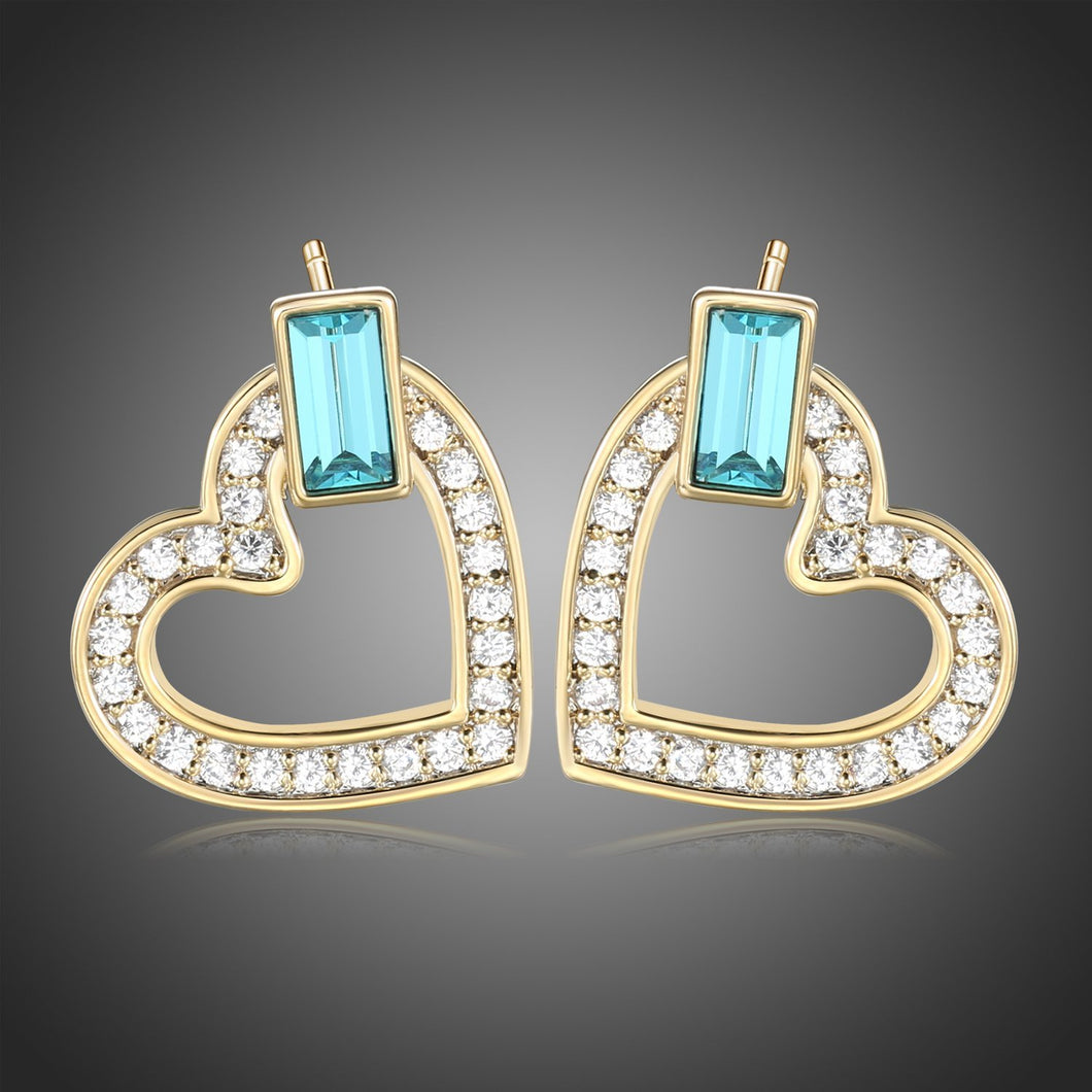 Heart Blue Austrian Crystals Stud Earrings -KPE0385 - KHAISTA Fashion Jewellery