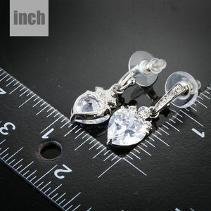 Heart Clear Shape Drop Earrings -KPE0137 - KHAISTA Fashion Jewellery