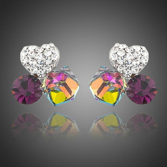 Heart Cube Circle Together Stud Earrings - KHAISTA Fashion Jewellery