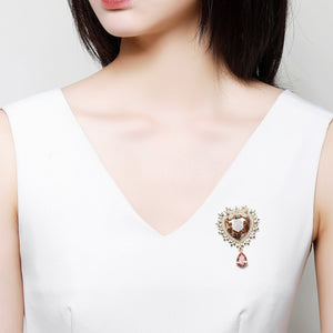 Heart Design Austrian Crystals Water Drop Brooch - KHAISTA Fashion Jewellery