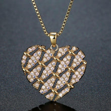 Load image into Gallery viewer, Heart Shape Necklace with Round Clear Cubic Zirconia -KFJN0288 - KHAISTA2