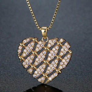 Heart Shape Necklace with Round Clear Cubic Zirconia -KFJN0288 - KHAISTA2