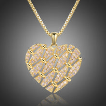 Load image into Gallery viewer, Heart Shape Necklace with Round Clear Cubic Zirconia -KFJN0288 - KHAISTA1