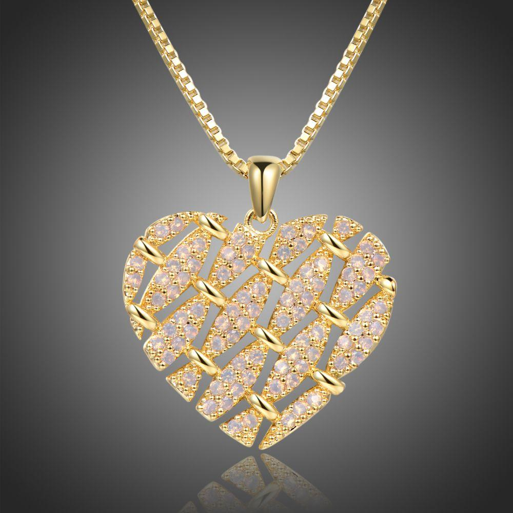 Heart Shape Necklace with Round Clear Cubic Zirconia -KFJN0288 - KHAISTA1
