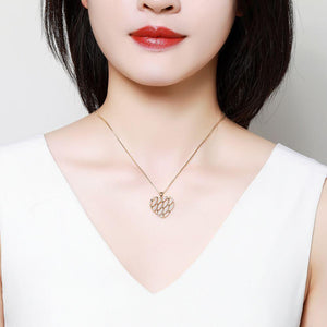 Heart Shape Necklace with Round Clear Cubic Zirconia -KFJN0288 - KHAISTA4