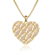 Load image into Gallery viewer, Heart Shape Necklace with Round Clear Cubic Zirconia -KFJN0288 - KHAISTA5