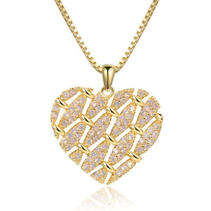 Heart Shape Necklace with Round Clear Cubic Zirconia -KFJN0288 - KHAISTA5