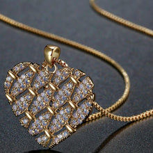 Load image into Gallery viewer, Heart Shape Necklace with Round Clear Cubic Zirconia -KFJN0288 - KHAISTA3
