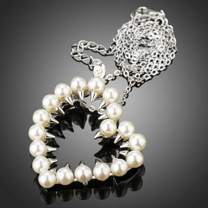Heart Shaped Pearls Pendant Necklace - KHAISTA Fashion Jewellery