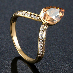 Heartbeat Champagne Austrian Crystal Ring - KHAISTA Fashion Jewellery