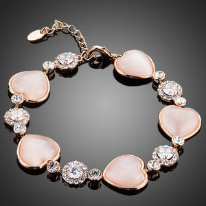 Hearts with Studs Crystal Bracelet - KHAISTA Fashion Jewellery
