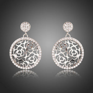 Hollow Flowers Crystal Drop Earrings -KPE0281 - KHAISTA Fashion Jewellery