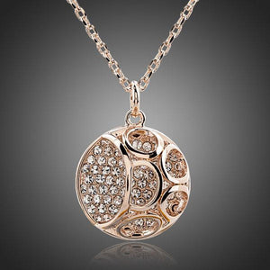Hollow Out Round Crystal Pendant Necklace KPN0085 - KHAISTA Fashion Jewellery