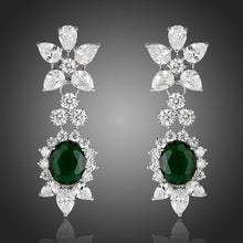 Load image into Gallery viewer, Hookers Green Cubic Zirconia Crystal Drop Earrings - KHAISTA Fashion Jewellery