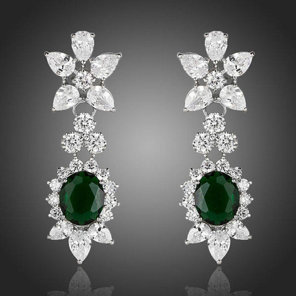 Hookers Green Cubic Zirconia Crystal Drop Earrings - KHAISTA Fashion Jewellery