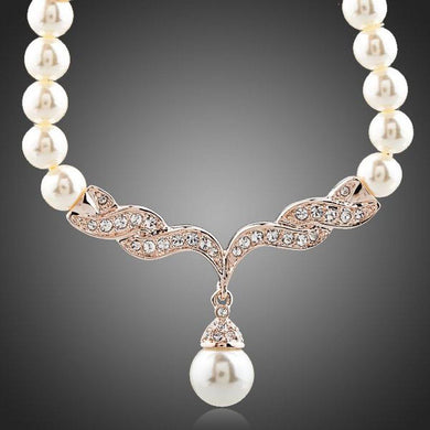 Imitation Pearl Love Crystal Necklace KPN0097 - KHAISTA Fashion Jewellery