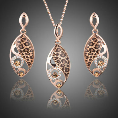 Jaguar Print Drop Earrings + Pendant Necklace Set - KHAISTA Fashion Jewellery