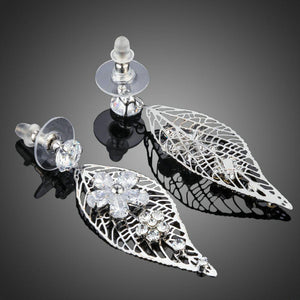 Leaf Design Flower Drop Earrings -KPE0201 - KHAISTA Fashion Jewellery