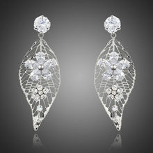 Load image into Gallery viewer, Leaf Design Flower Drop Earrings -KPE0201 - KHAISTA Fashion Jewellery