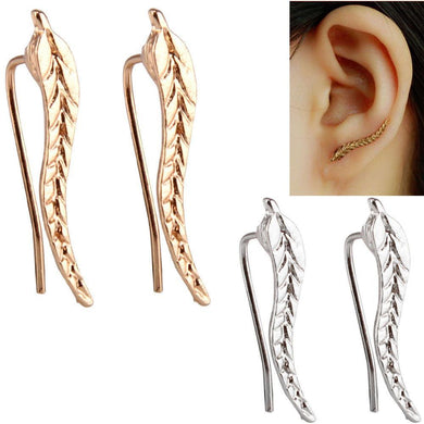 Leaf Feather Stud Earrings - KHAISTA Fashion Jewellery
