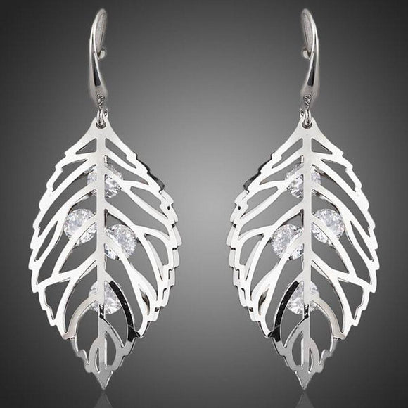 Leaves Stellux Austrian Crystal Drop Earrings -KPE0040 - KHAISTA Fashion Jewellery