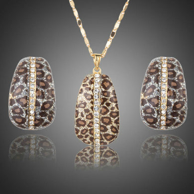 Leopard Print Clip Earrings & Necklace Set - KHAISTA Fashion Jewellery