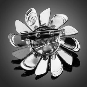 Leopard Windmill White Gold Plated Pin Brooch - KHAISTA Fashion Jewellery