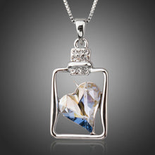 Load image into Gallery viewer, Light Blue Crystal Heart Pendant Necklace - KHAISTA Fashion Jewellery